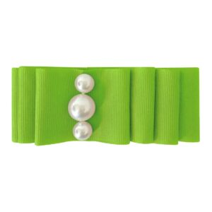 Large Milledeux® layered hair bow - alligator clip - pearl / Apple Green