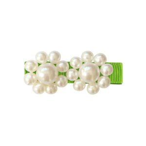 Milledeux® 2 Pearl Flowers - alligator clip - pearl / Apple Green