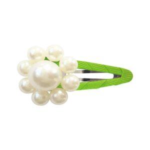 Milledeux® Pearl Flower - snap clip - pearl / Apple Green