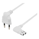 DELTACO ungrounded device cable, 0.5m, angled CEE 7/16, IEC 60320,whit