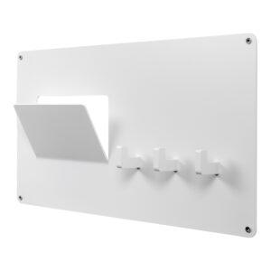 SPINDER DESIGN rektangulær Leatherman knagerække, m. 3 knager - hvid stål