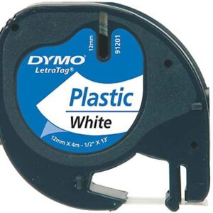 Tape LetraTag plastic 12mmx4m white