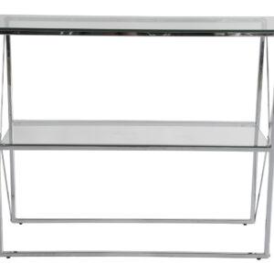 RGE Cross konsolbord - glas/sølv glas/metal, m. 1 hylde (110x35)