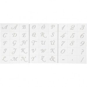 Skabeloner, bogstaver og tal, A5 15x21 cm, H: 20-30 mm, 3ark