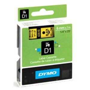 Tape D1 6mmx7m black/yellow