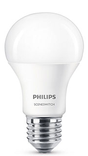 E27 – 8W LED Philips Scene Switch 3 Light Settings (3x lysstyrker indbygget)
