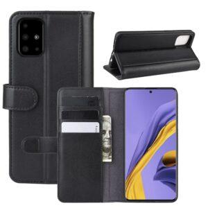 Samsung Galaxy A51 - Ægte læder cover / pung - Sort