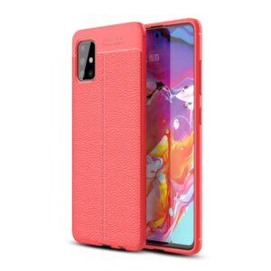 Samsung Galaxy A51 - Gummi cover i Læder Design - Rød