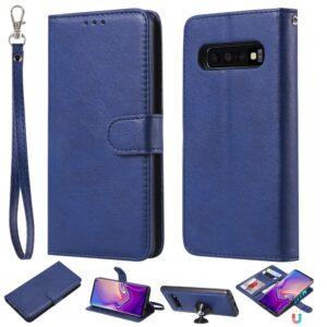 Samsung Galaxy S10 - Læder 2-i-1 design cover m/aftagelig holder - Blå