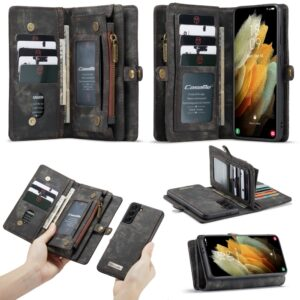 Samsung Galaxy S21 Plus - CASEME 2-i-1 ægte læder pung / cover - Aftagelig indvendig holder - Sort