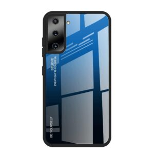 Samsung Galaxy S21 Plus - GRADIENT Hybrid cover med bagside af hærdet glas - Blå/sort