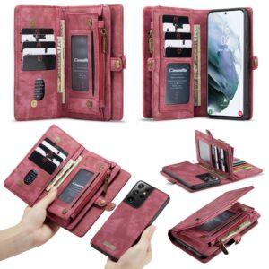 Samsung Galaxy S21 Ultra - CASEME 2-i-1 ægte læder pung / cover - Aftagelig indvendig holder - Rød