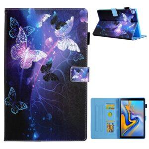 Samsung Galaxy Tab A7 10.4 (2020) - Læder cover / taske i printet design - Lilla sommerfugl