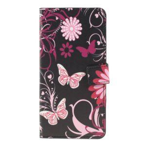 Samsung Galaxy A50 / A50s / A30s - Mønstret læder cover / pung - Sommerfugl blomst